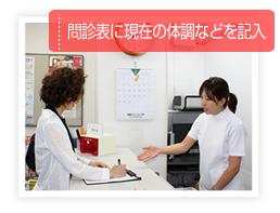 問診票に現在の体調などを記入
